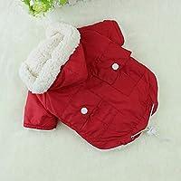 CHANNIKO-UK Autumn Winter Pet Dog Warm Clothes Pet Hooded Solid Color Dog ClothesRed M