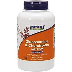 Now Foods Glucosamina 1.1g, Chondroitin 1,2G, con MSM 300mg, 180Cápsulas