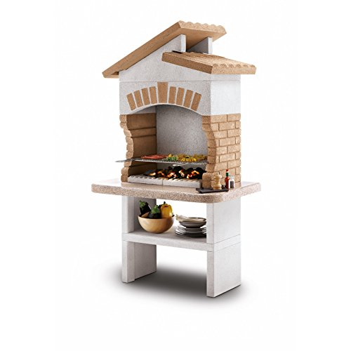 Fire Mountain Tupai Masonry Barbecue with Stainless Steel 4 Level Grill, Granite Shelf and Storage Space for Wood or Charcoal