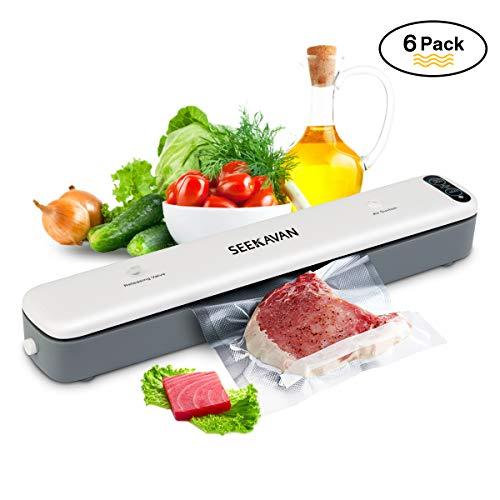 Macchina Sottovuoto Per Alimenti Professionale, SEEKAVAN Sigillatrice Sottovuoto Compatto con 5 Sacchetti Per Alimenti Ed Un Tubo per L'aspirazione.