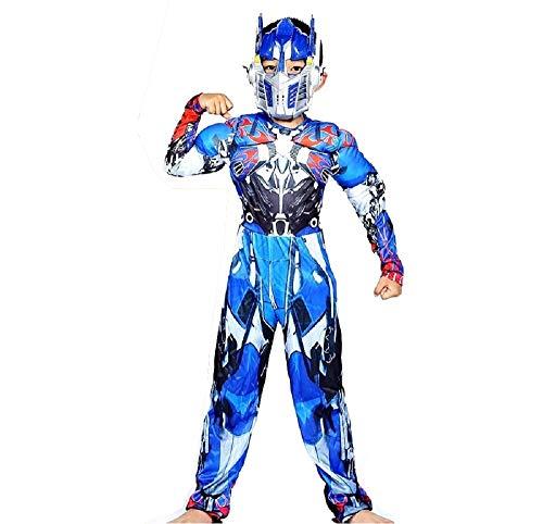 Lovelegis Größe L - 6-7 Jahre - Superheld-Kostüm und Maske - Muskulöser Busen - Transformers für Kinder verkleiden Karneval Halloween Cosplay Zubehör