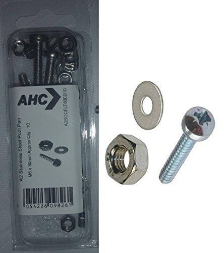 Preisvergleich Produktbild AHC a2pozpan410b25M4x 10mm A2Edelstahl Pozi Pan Head Maschine Schrauben inkl. Muttern und Unterlegscheiben (Blister 25Stück)