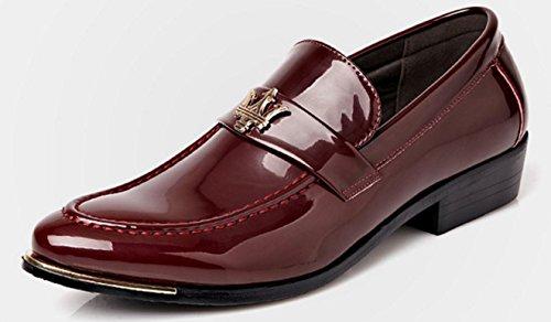 Nspx Men 's Business Men' S Chaussures En Cuir Chaussures De Mariage Banquet Robe Chaussures, Bleu, 39 38-red