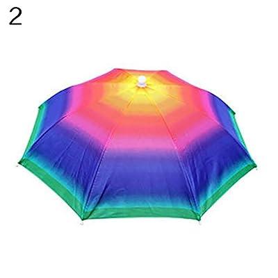 geshiglobal Adjustable Headband Sun Rain Outdoor Sport Foldable Fishing Umbrella Hat Cap from geshiglobal
