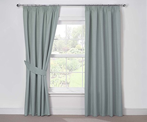 Julian Charles Luna Thermal Coated Pencil Pleat Curtains, Duck Egg, 44 x 72-Inch