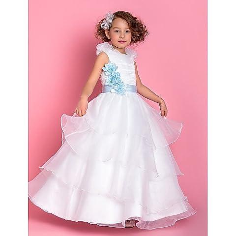 ZY/A-Line/Princess floor-length Flower Girl Dress–organza senza maniche, White, child-14