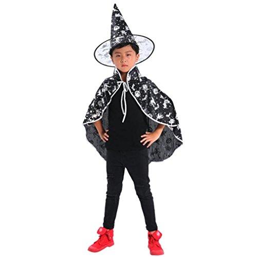 (Halloween Erwachsene Kinder Baby Cape Vampir Kostüm Halloween Erwachsener Unisex Kostüm Zauberer Hexe Umhang Kap Robe + Hut Set Kleidung (Weiß))