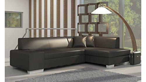 Justhome fabio divano angolare divano letto finta pelle (axlxp): 73x268x167 cm nero penisola a destra