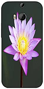 Snoogg Beautiful Purple Waterlily In A Pond Designer Protective Back Case Cover For HTC M8