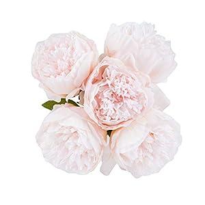 U'Artlines – Ramo de flores artificiales de seda para decoración, seda sintética, 5 cabezales de color blanco., 1 pack