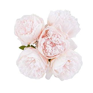 U'Artlines – Ramo de Flores de Seda de peonía Artificial Vintage para decoración, 2 Unidades, Color café
