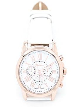 Loveso-Armbanduhr elegant Neue Damenmode Genf römischen Ziffern Kunstleder analoge Quarz-Armbanduhr_Weiß