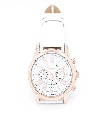 Loveso-Armbanduhr elegant Neue Damenmode Genf römischen Ziffern Kunstleder analoge