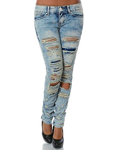 Damen Jeans Hose Skinny (Röhre) No 14035, Farbe:Blau;Größe:38 / M