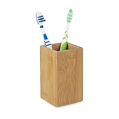 Relaxdays Gobelet porte brosse à dents - bambou nature verre salle de bain,HxlxP: 11,5 x 6,5 x 6,5 cm, nature