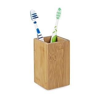 Relaxdays–10020226Portacepillos bambú rectangular, diseño natural, medidas: 11,5x 6,5cm Vaso para cepillos de dientes de bambú, rectangular, bambú, 6.5x 6.5x 11.5cm