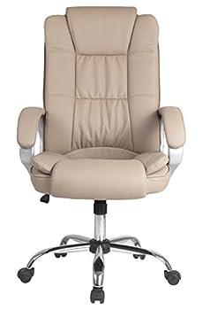 Chaise de bureau Confort 2 relevable et fauteuil inclinable en simili cuir taupe