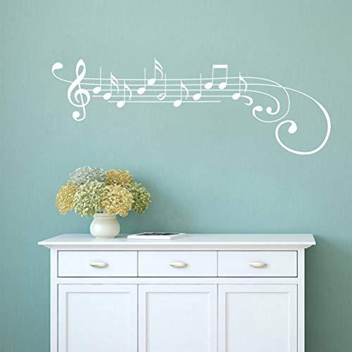 Idecorate adesivo da parete per musica,white music decalcomania da muro in vinile note di chiave di violino sticker art mural removable home decor 30x86cm