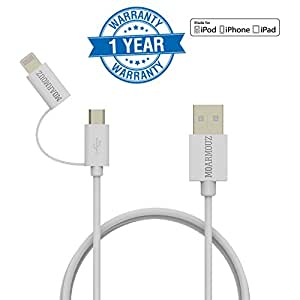 [Apple MFi Certified] MoArmouz® 2 in 1 Dual Lightning USB Cable (1 YEAR WARRANTY) 3ft 1M , USB Connector for Any Android and Apple Devices such as iPhone, iPad, Samsung, HTC, Nexus, Sony and more (White)