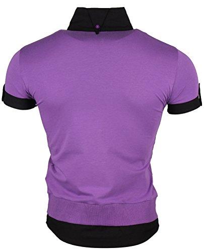 Tazzio Herren T-Shirt Hemd Longshirt T-Shirt Polohemd Lila-Schwarz