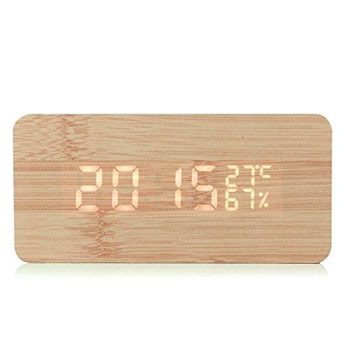 Gearmax LED reloj despertador Reloj despertador de madera con la voz del tiempo Comando / temperatura / humedad / Calendario brillo ajustable de la batería / conector USB Decoración dormitorio, cocina, oficina, tienda, Club de madera de bambú del coche
