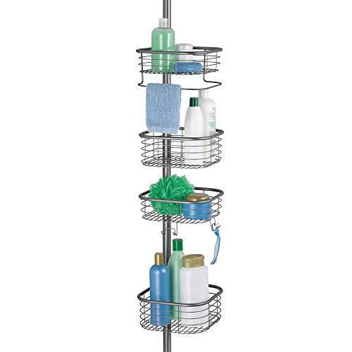 mDesign Duschregal ohne Bohren - praktischer Shower Caddy für die Ecke aus Metall und Kunststoff - ausziehbare Duschablage mit 4 Körben für Shampoo und Conditioner mit Handtuchstange - grau