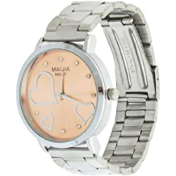 Women Pink Round Dial Case Silver Tone Band Quartz Watch Gift