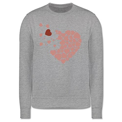 Romantisch - Herz Herzchen - Herren Premium Pullover Grau Meliert