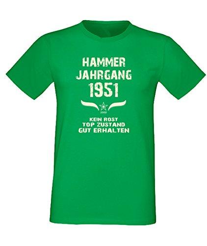 Sprüche Motiv Fun T-Shirt Geschenk zum 66. Geburtstag Hammer Jahrgang 1951 Farbe: schwarz blau rot grün braun auch in Übergrößen 3XL, 4XL, 5XL grün-01
