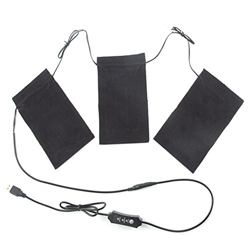 Awhao USB Thermal Vest Heating Cloth 1-for-3 Electric Heating Clothes Pad with Temperature Control Switch
