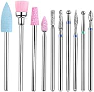 Minkissy 1 Set of 10pcs Carbide Nail Drill Bits Set Nail File Drill Bit for Manicure Pedicure Cuticle Gel Nail