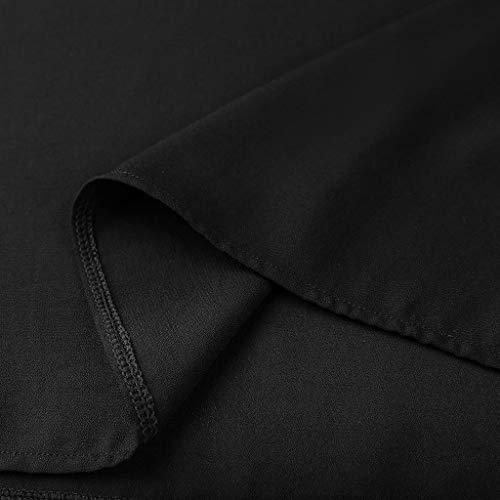 Camiseta de Mujer,Elegante Sexy Manga Corta Color sólido Hombro sin Tirantes Moda Fiesta Cuello en v Blusa Camisa Suelto Verano Camiseta Tops Casual T-Shirt Original Rotos tee vpass (Negro, XL)