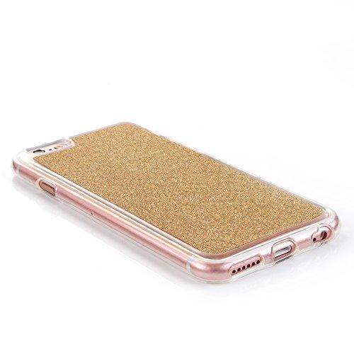 """iPhone 6sPlus Handyhülle, Bling Glitzer Funkeln CLTPY iPhone 6Plus Durchsichtig Dünne Matte Gel Cover Schlanke Hybrid Stoßdämpfende & Kratzfeste Gummi Case mit Kippständer für 5.5"""" Apple iPhone 6Plus/ Gold"""