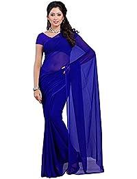 Royal Blue Plain Georgette Saree