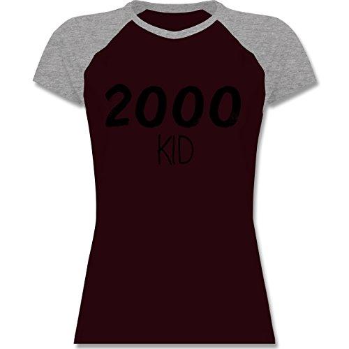 Geburtstag - 2000 KID - zweifarbiges Baseballshirt / Raglan T-Shirt für  Damen Burgundrot/