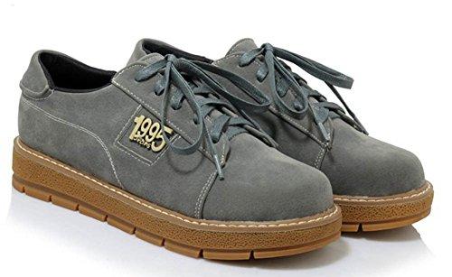 Aisun Damen Modisch Freizeit Flach Gummisohle Sneaker Grau