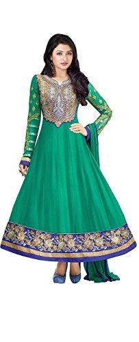 Mrig Women Faux Georgette Dress Material (El30008 _Green _Free Size)