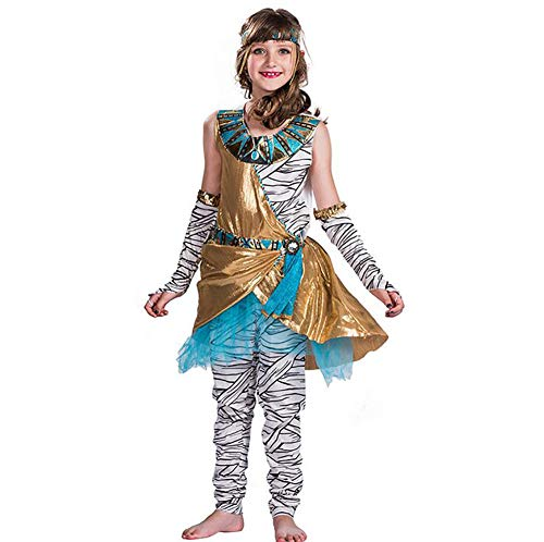 Kinder Mädchen Mumie Kostüm - SHANGLY Mumie Cosplay Mädchen Halloween Kostüm Für Kinder Altes Ägypten Kleid Karnevalsfeier,L