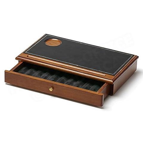 Schatulle mit Schublade Stiftebox aus Holz und Leder schwarz Collection Trianon