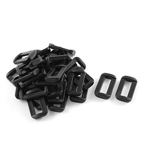 Dealmux Plastique Barre diapositives Boucles 30 pcs Noir pour 2 cm Sangle en toile