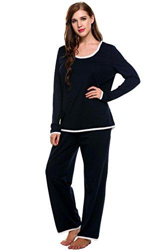 ADOME Damen Basic Schlafanzug V-Ausschnitt Zweiteiliger Lang Pyjama Weich Hausanzug Marine