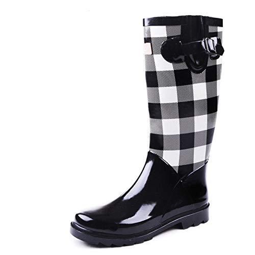 Damen Regen Stiefel, Mode Gummi Regen welington Stiefel Frauen wasserdicht rutschfeste Schuhe Damen Freizeit niedlich kurzen knöchel Wellington schwarz und weiß Plaid PVC rainb -