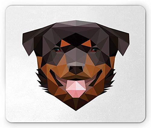 Rottweiler Mouse Pad, Modern Low Poly Triangular Art Style Animal Portrait Boho Geometric, Standard Size Rectangle Non-Slip Rubber Mousepad, Cinnamon Dark Brown - Metal Dark Dragon