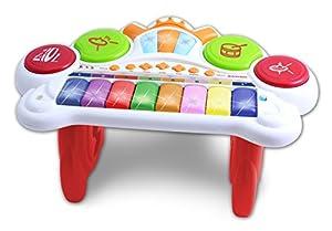 Bontempi- Organo ELECTRONICO 8 Teclas con Luces Y Sonidos, Color Blanc/Rouge/Orange/Jaune (131025)