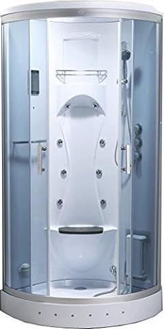 Biancospino Cabine de douche hydromassante de coin avec lumière intérieure