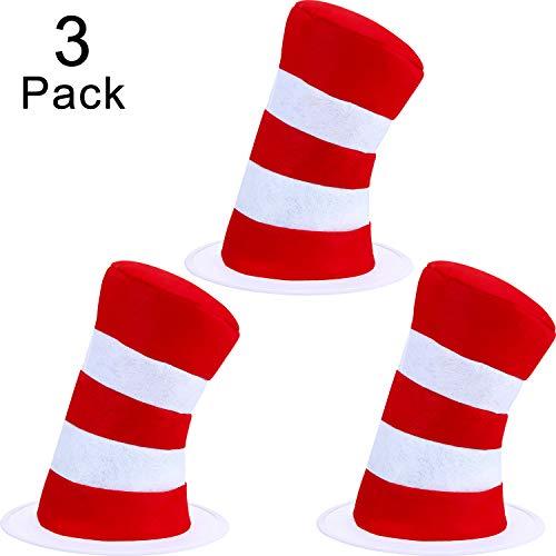 SATINIOR 3 Stücke Zylinder Kostüm Roter Weißer Hut für Halloween Kostüm Zubehör, Einheitsgrösse (Katze Im Hut Kostüm Für Kleinkind)