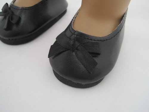 Unique Doll Clothing Unique Doll Clothing Black Matt Slip Ons with Bow for 18 Inch Dolls Including The American Girl Line