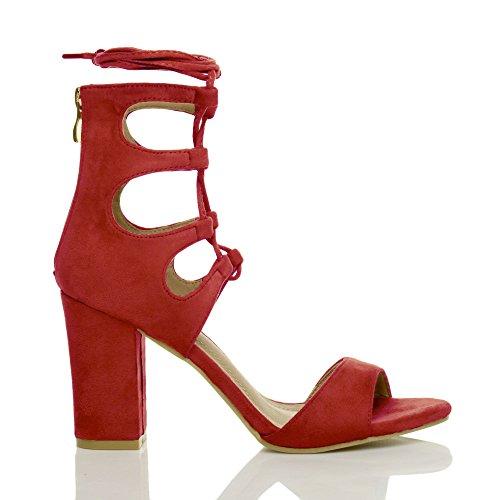 Donna tacco alto cerniera allacciare tagliare aperte punta scarpe sandali numero Rosso scamosciata