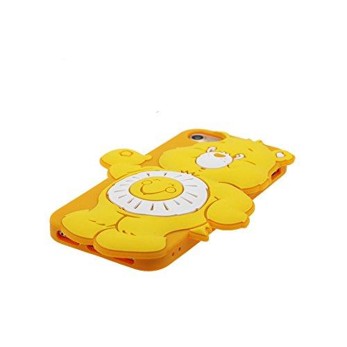 iPhone 7 Custodia Cover, Durevole Shell TPU Flexible iPhone 7 Copertura Case 4.7 A prova di polvere (Cartoon 3D orso) Bear Pretty Soft blu giallo