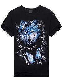 Amazon.es  diseño de lobo - Camisetas   Camisetas fbe7227315e